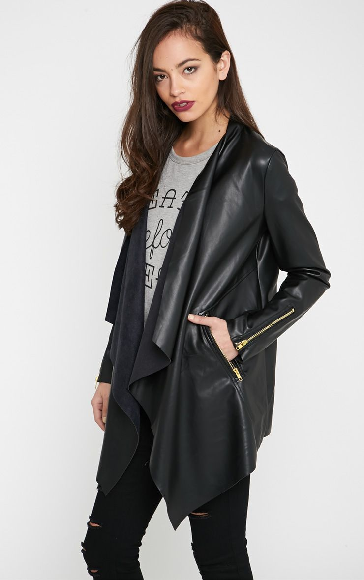 Trudy Black Leather Waterfall Jacket  1