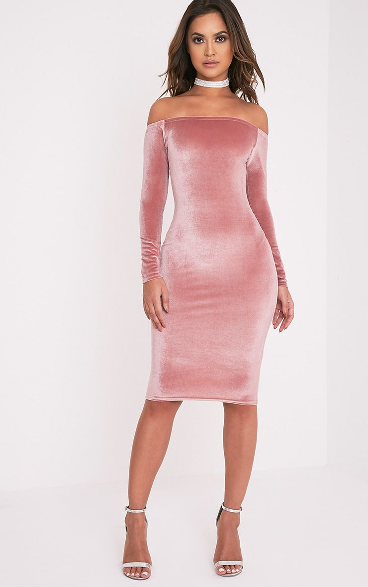Kimmia Dusty Pink Velvet Bardot Midi Dress 1