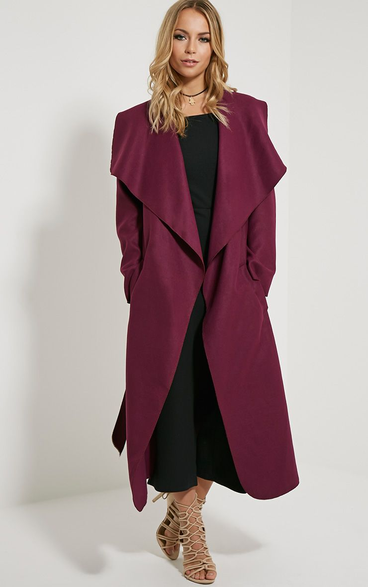Veronica Purple Oversized Waterfall Belt Coat 1