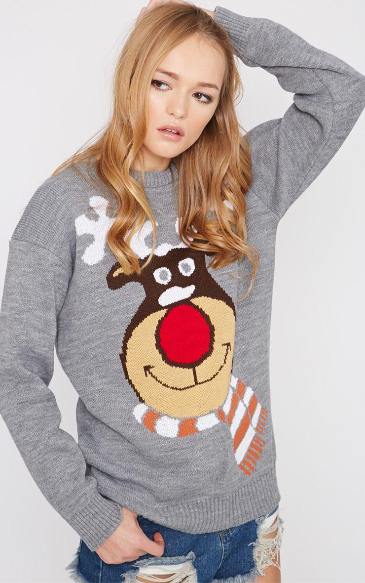 Florry Grey Rudolph Christmas Jumper  1