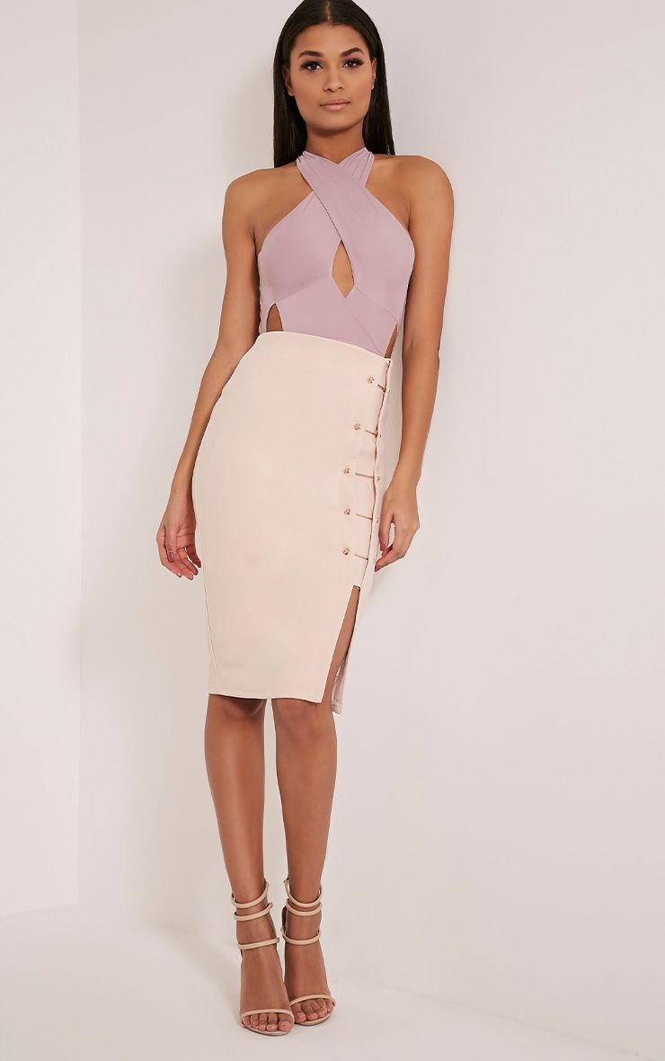 Paris Mauve Cross Front Cut Out Bodysuit 1