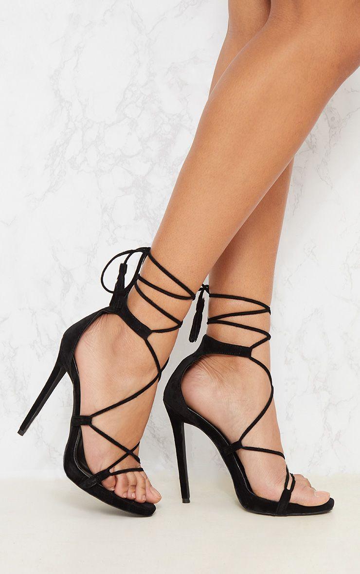 Rosaline Black Tassel Lace Up Heels