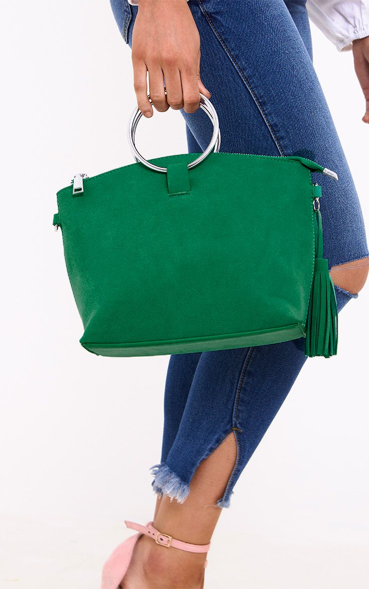 Green Double Ring Handled Textured Bag