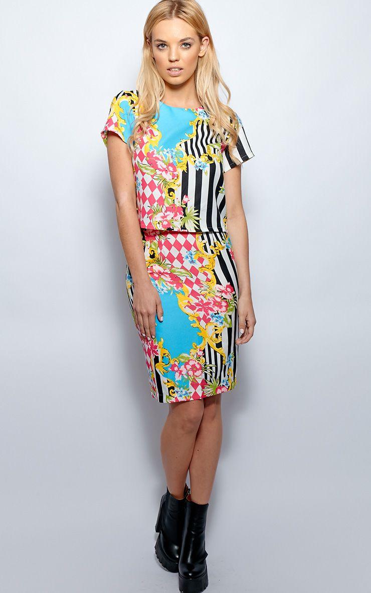 Paige Floral Stripe Midi Skirt 1