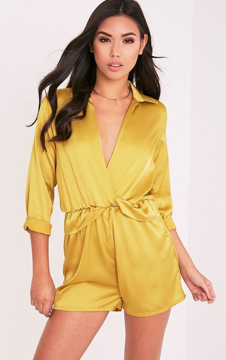 Anora Dark Lime Satin Plunge Playsuit 1
