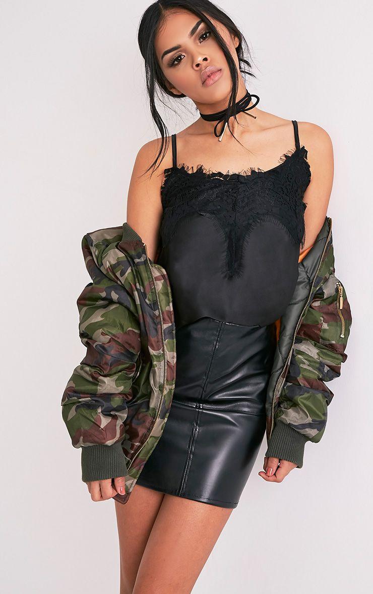 Bethlynn Black Satin Lace Cami Top