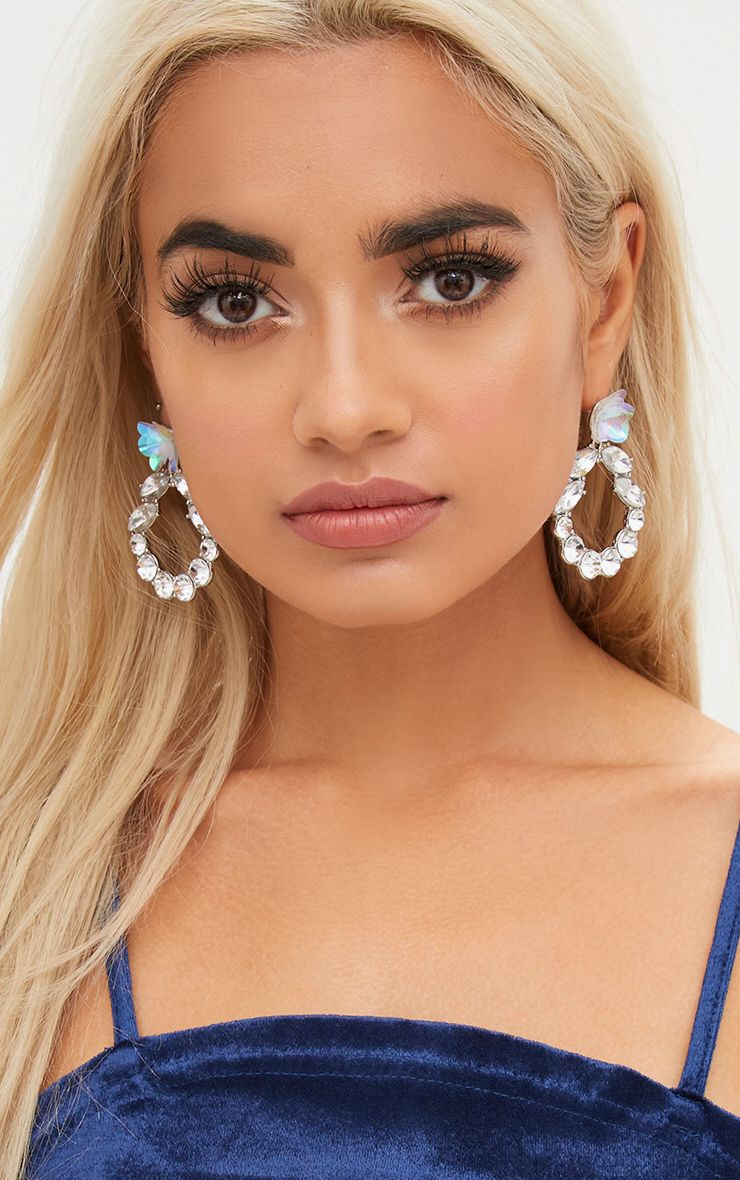 Silver Sequin Flower Diamante Hoop Earring