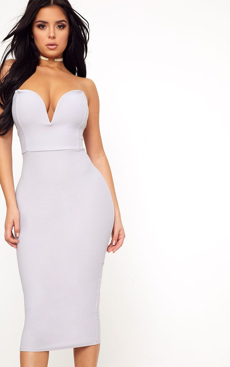 Shape Marikah Grey Plunge Midi Dress