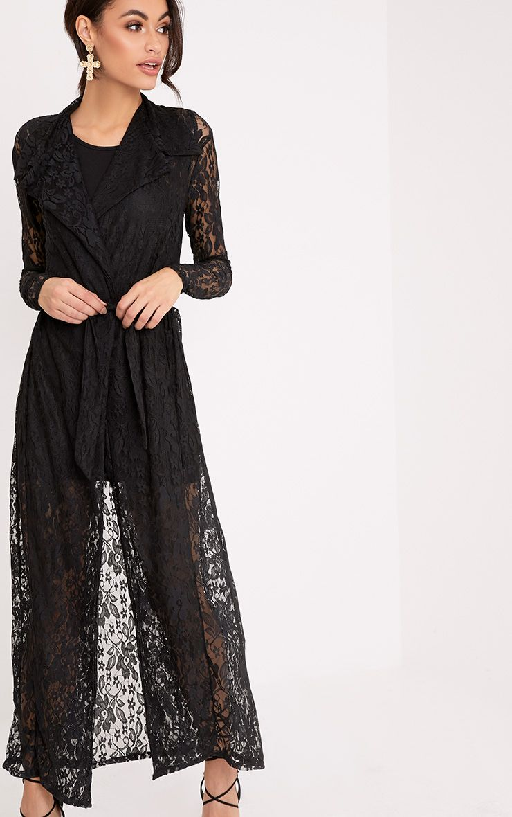 Alsa Black Lace Waterfall Duster Jacket