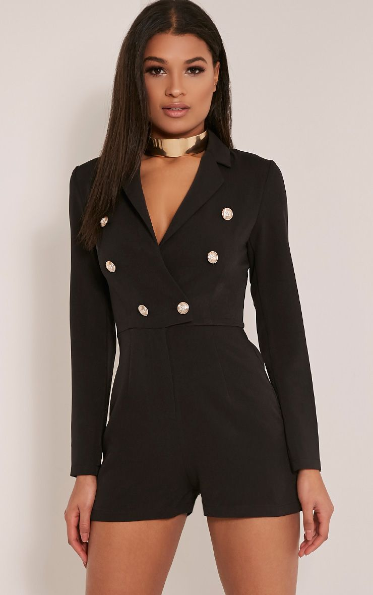 Enalia Black Button Tailored Blazer Playsuit 1