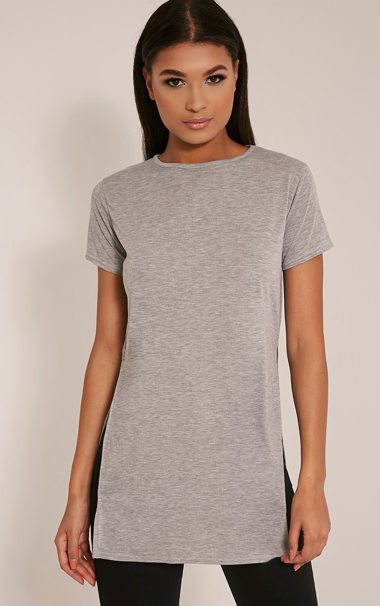Basic Grey Side Split T-Shirt