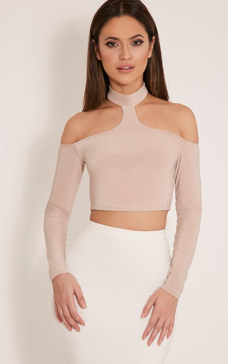 Rosalee Stone Cut Out Shoulder Crop Top 1