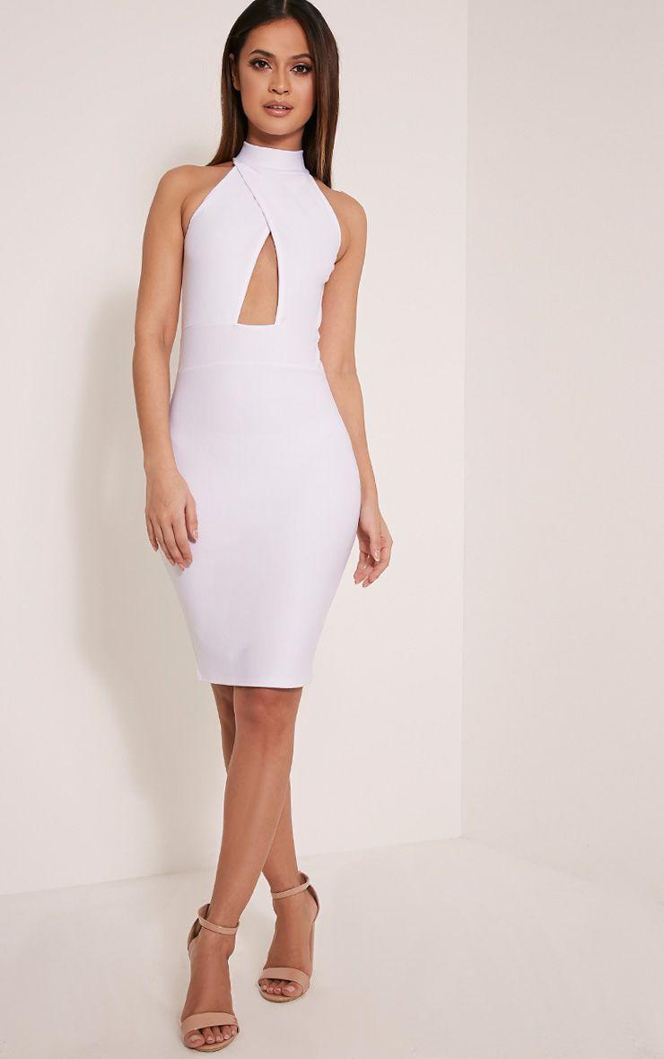 Torie White Keyhole Wrap Midi Dress 1