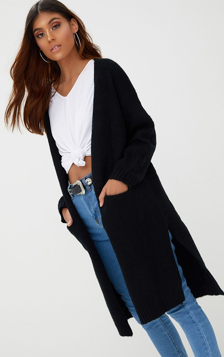 Black Super Chunky Long Line Cardigan 1
