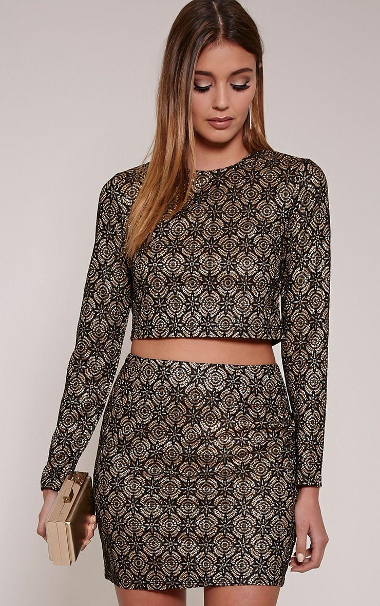 Nina Black Lace Glittery Mini Skirt 1