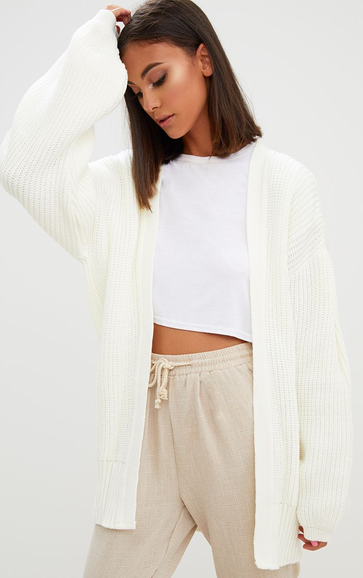 Cream Chunky Long line Knitted Cardigan