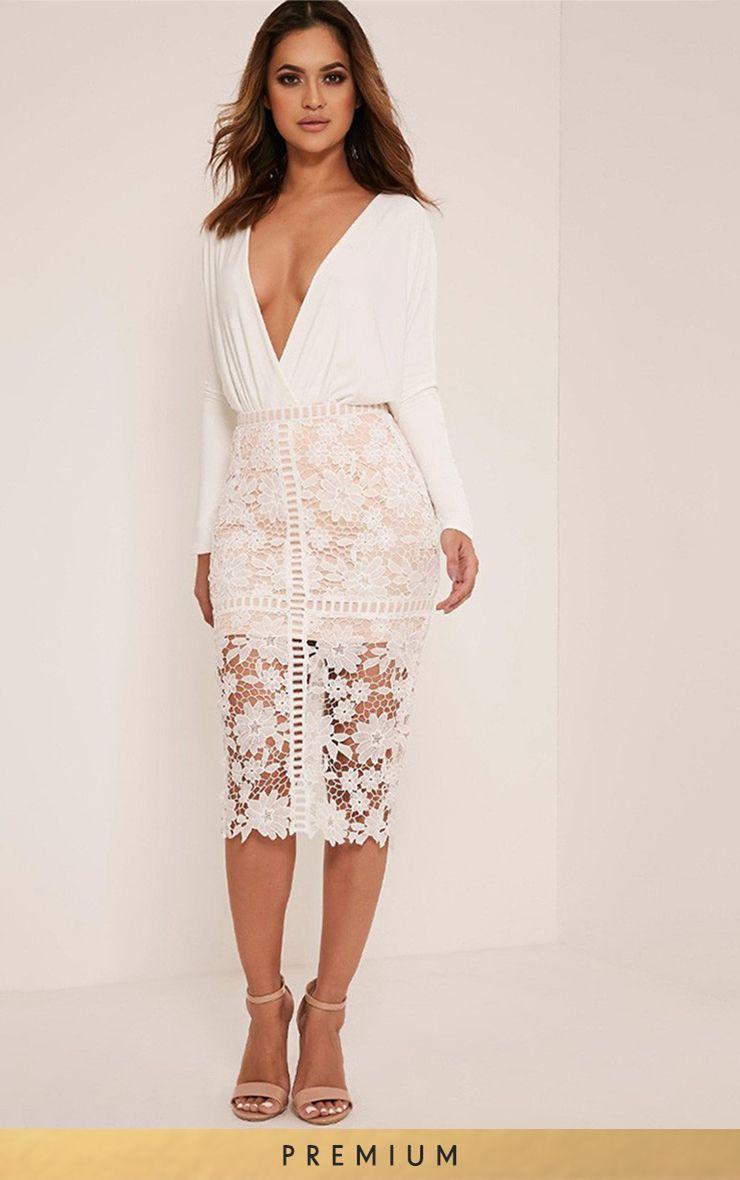 Janae White Crochet Lace Midi Skirt
