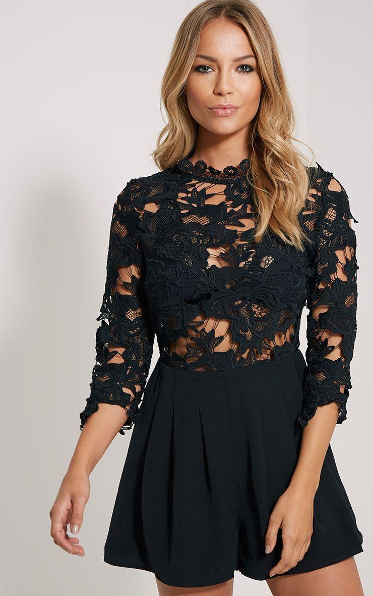Elmira Black Lace Top Playsuit 1
