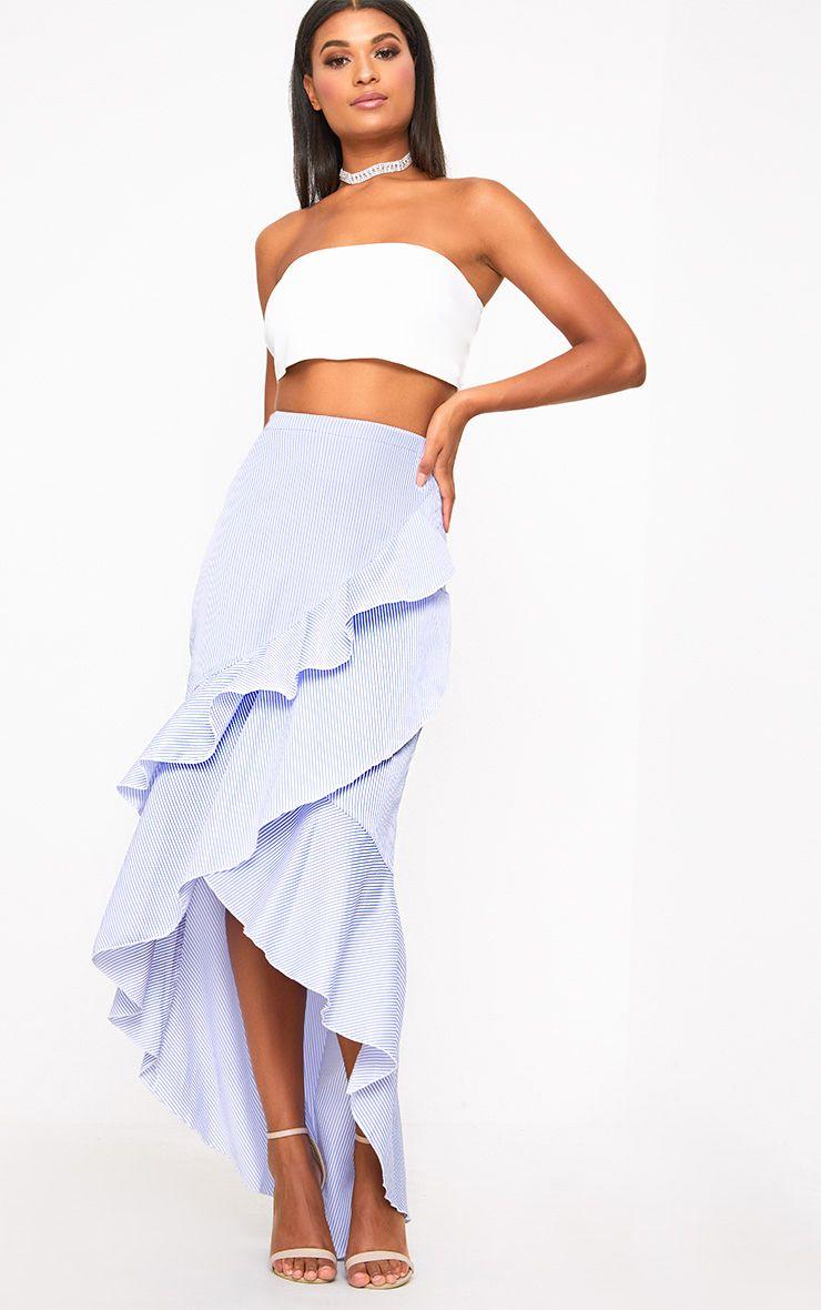 Blue Pinstripe Hi Lo Hem Ruffle Maxi Skirt