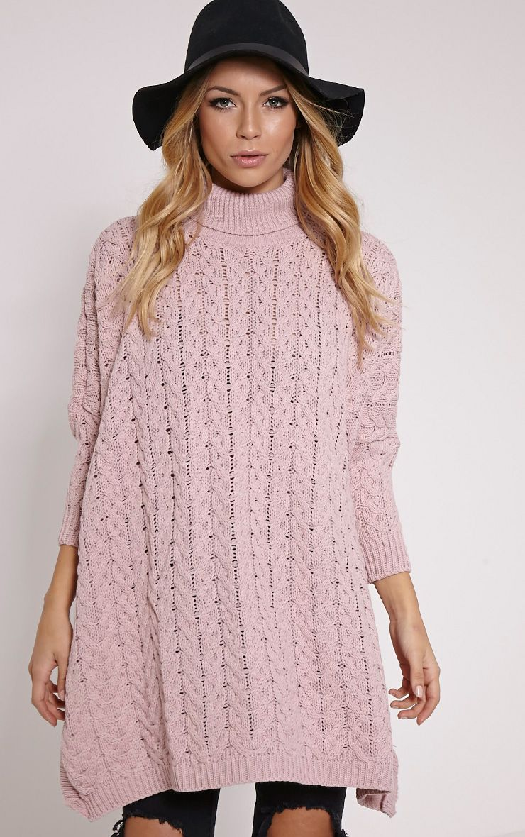 Juju Dusty Pink Cable Knit Oversized Jumper 1