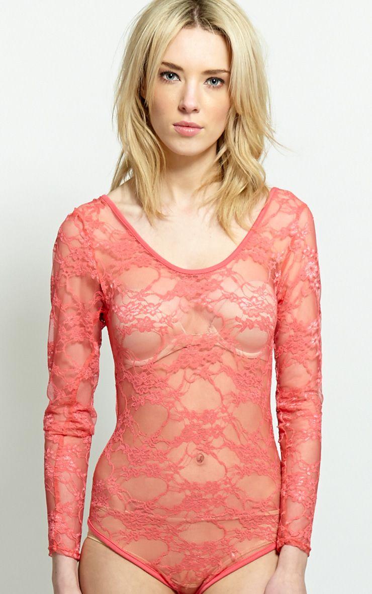Nadiyah Coral Lace Bodysuit  1