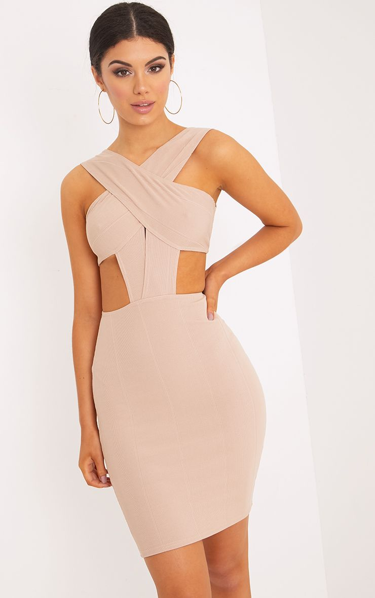 Briella Nude Bandage Bodycon Dress