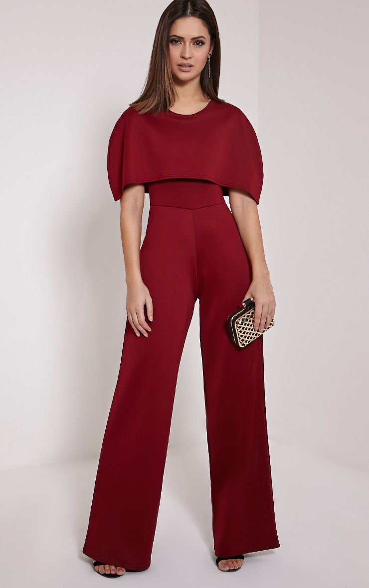 Claudie Burgundy Cape Jumpsuit 1