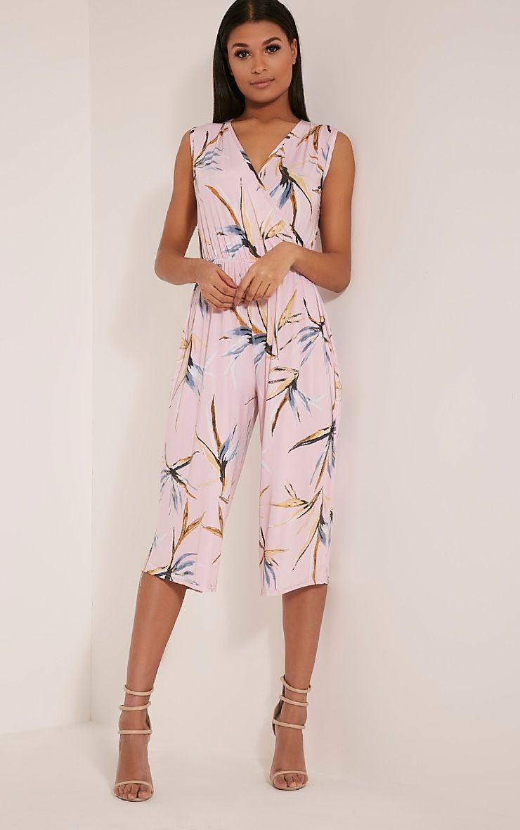 Mandie Pink Tropical Print Culotte Jumpsuit 1