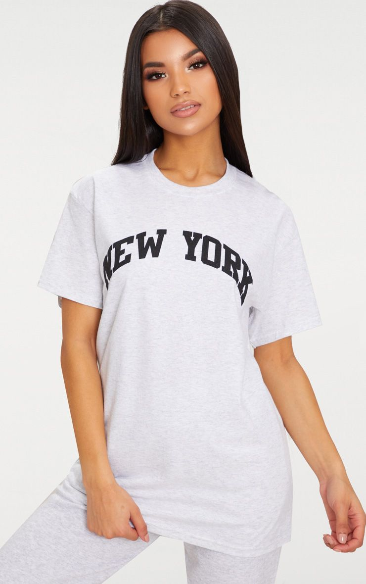 Grey New York Slogan Oversized T Shirt