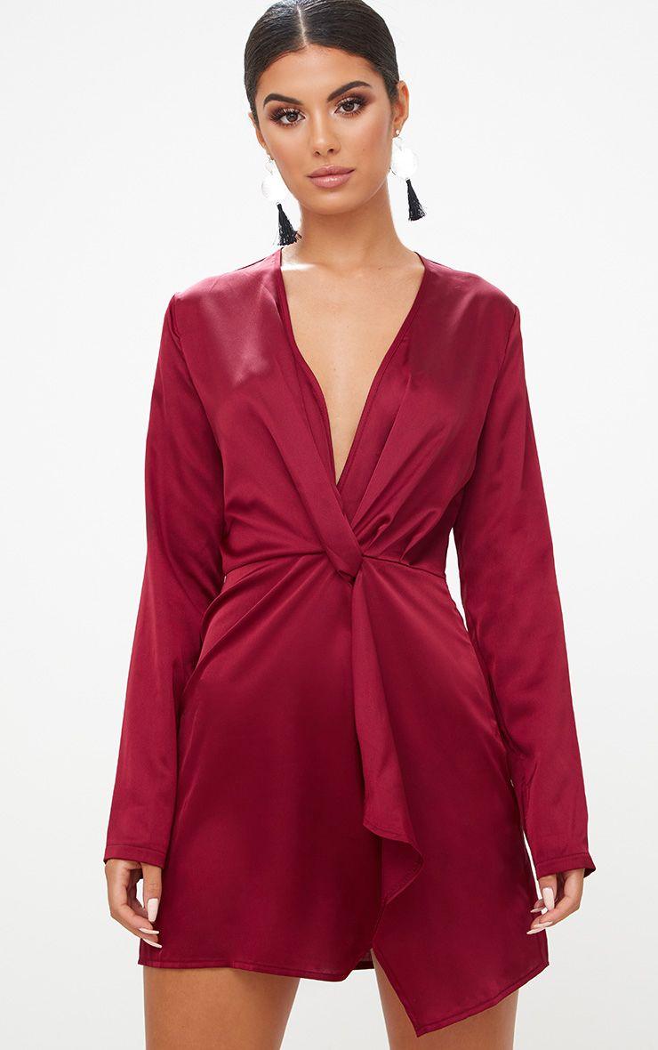 Burgundy Satin Long Sleeve Wrap Dress