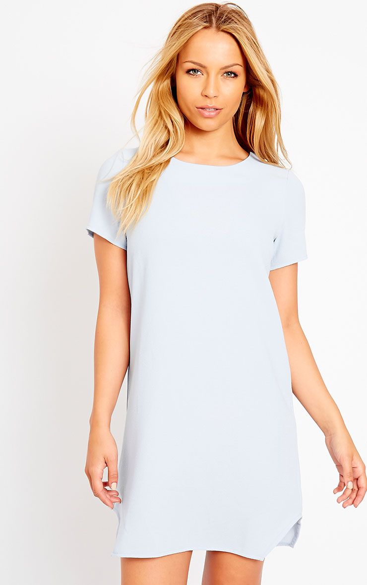 Jeni Powder Blue Crew Neck Shift Dress 1