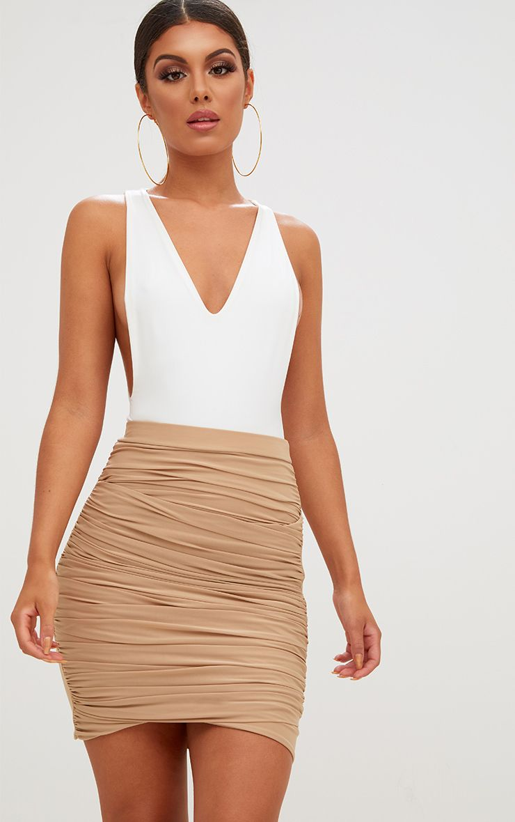 Sabina Stone Ruched Layered Slinky Mini Skirt