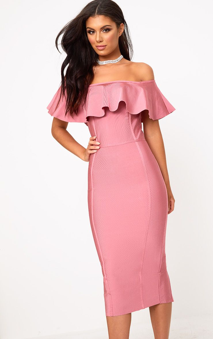 Rose Bandage Frill Bardot Midi Dress