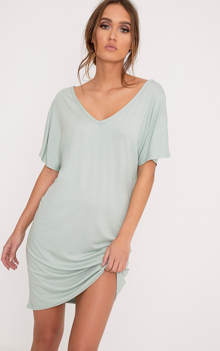 Basic Sage Green V Neck T Shirt Dress