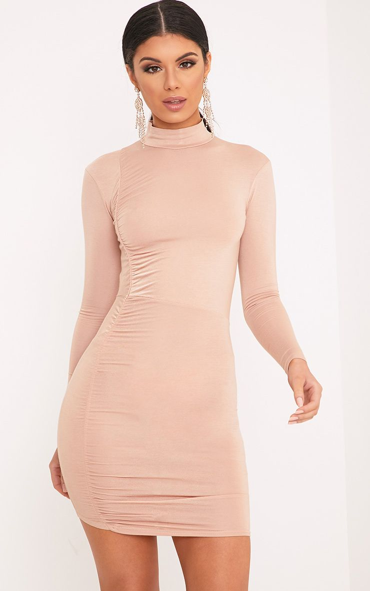 Moana Nude Ruched Detail Bodycon Dress 1