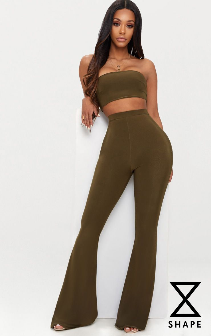 Shape Khaki Slinky Flared Trousers