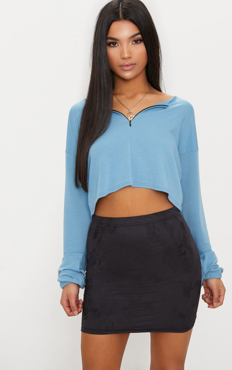 Black Faux Suede Asymmetric Hem Mini Skirt