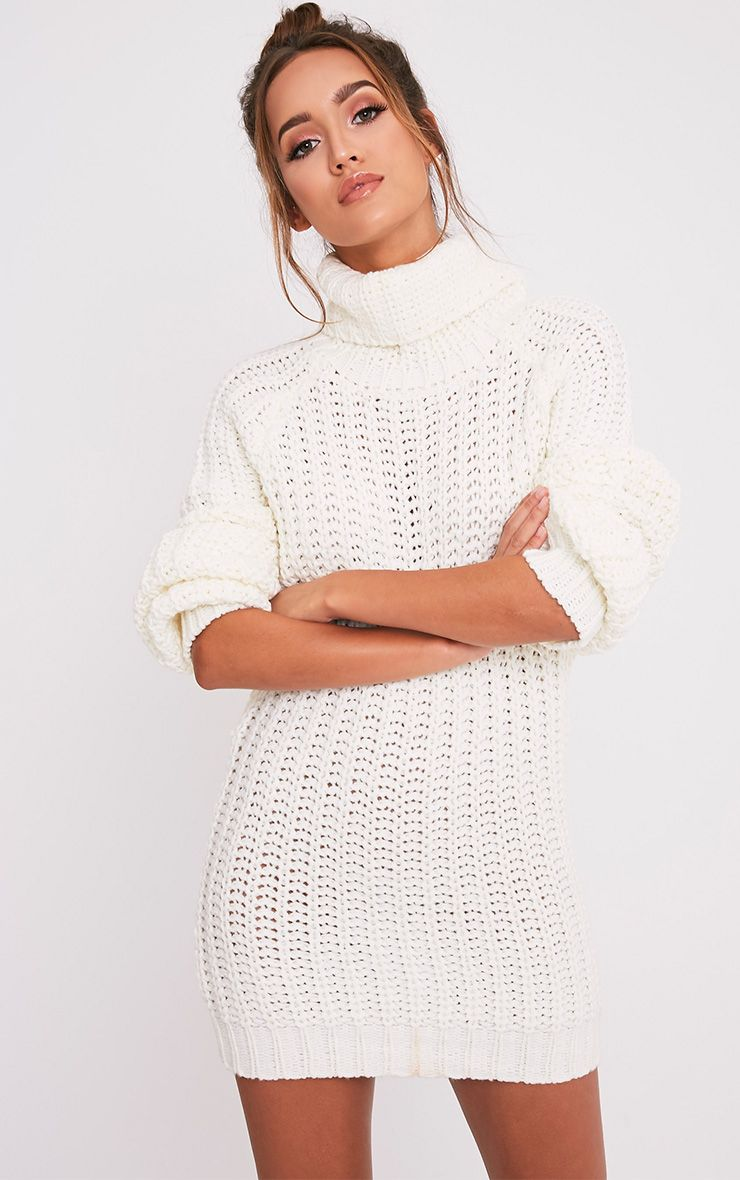 Shainel Cream Roll Neck Chunky Knit Jumper