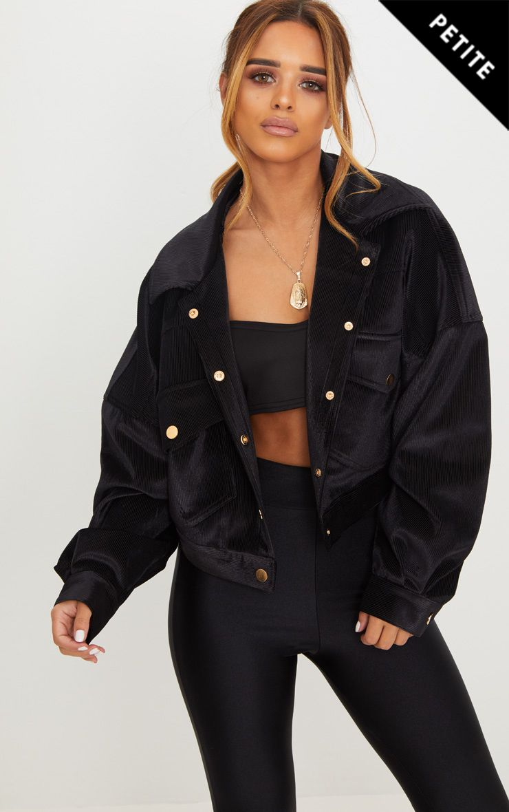 Petite Black Cropped Cord Oversized Trucker Jacket