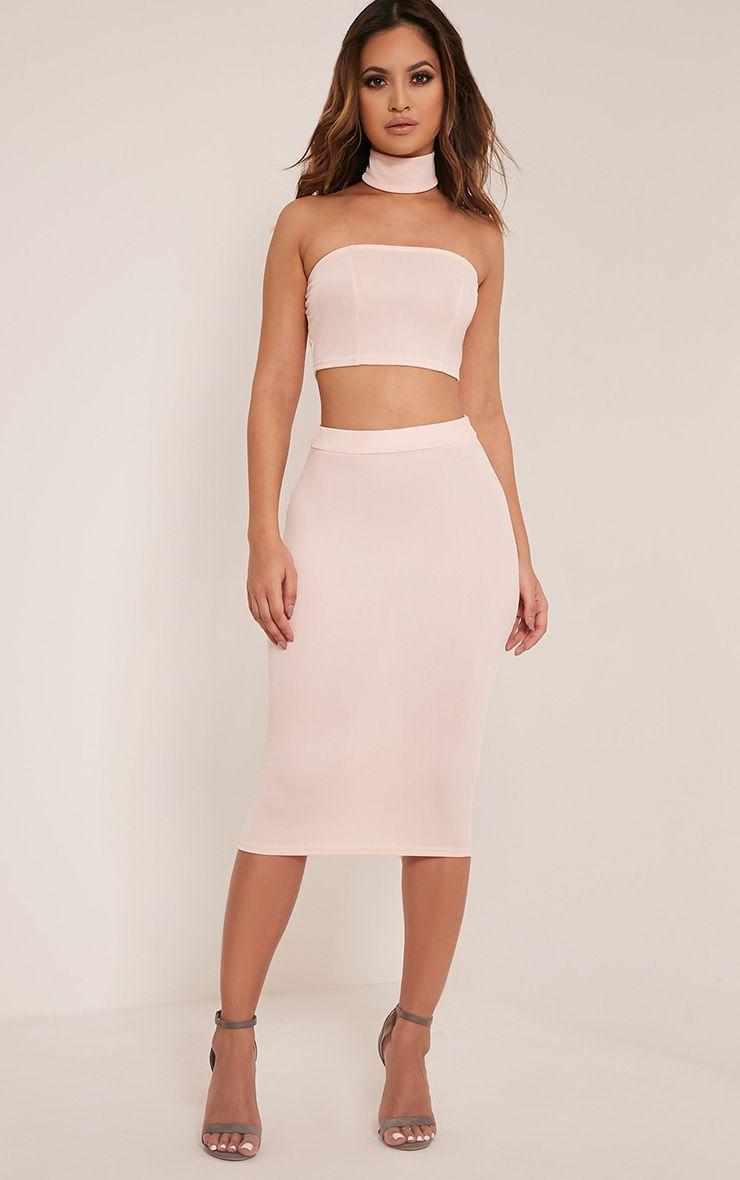 Lacy Nude Crepe Midi Skirt 1