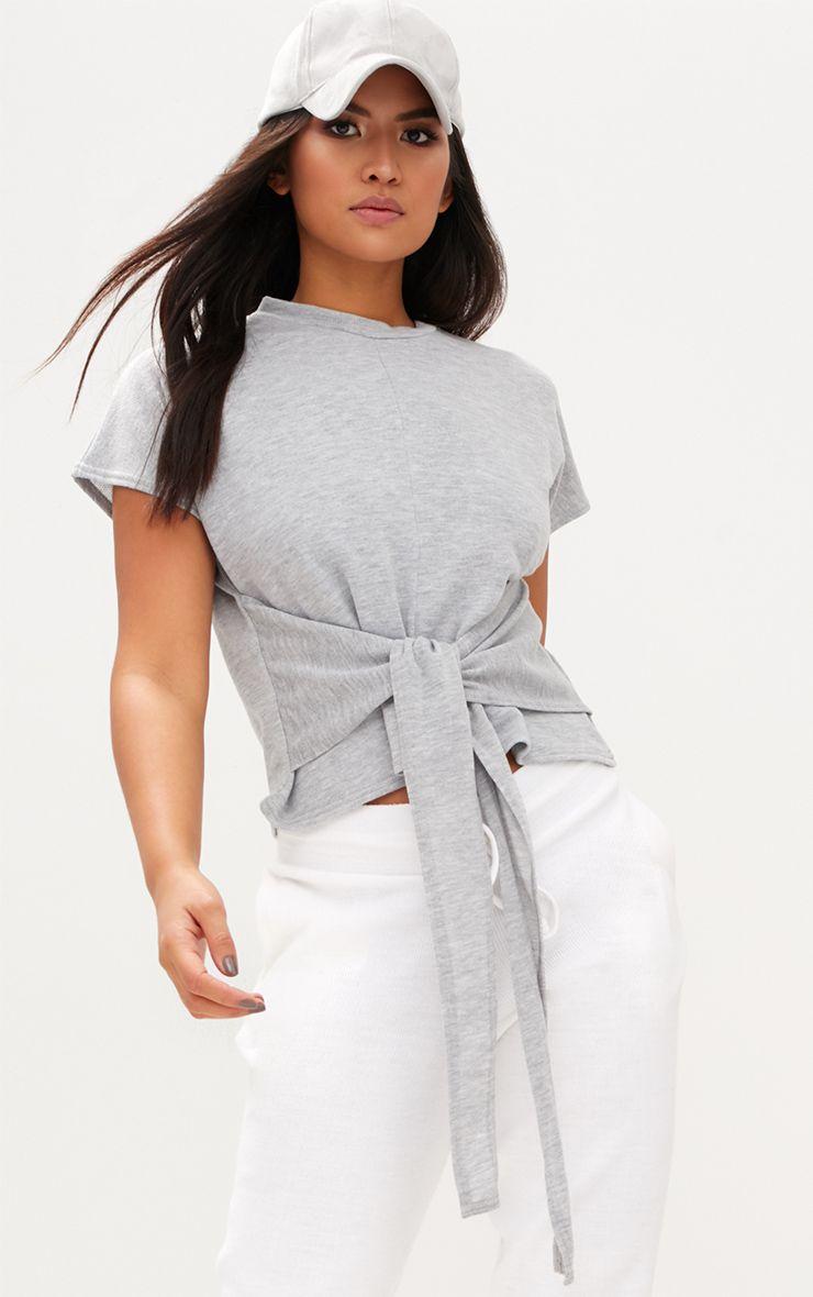 Grey Short Sleeve Tie Waist Sweater