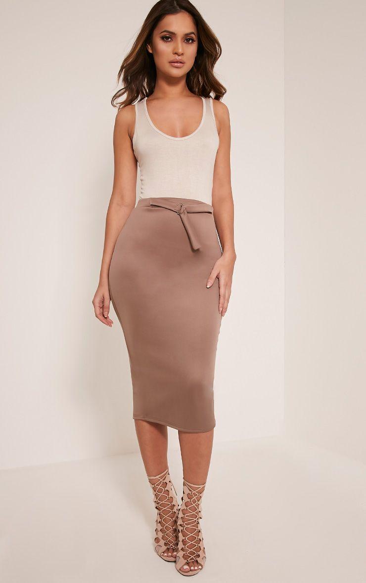 Reyna Taupe D-Ring Belt Scuba Midi Skirt