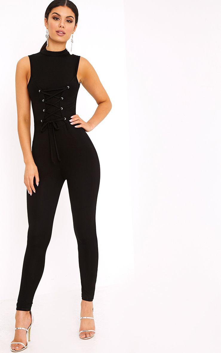 Amani Black Corset Front Jersey Jumpsuit  1