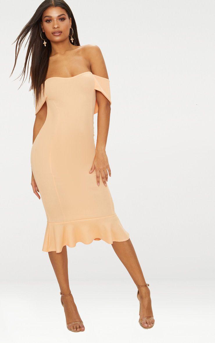 Tangerine Bardot Frill Hem Midi Dress