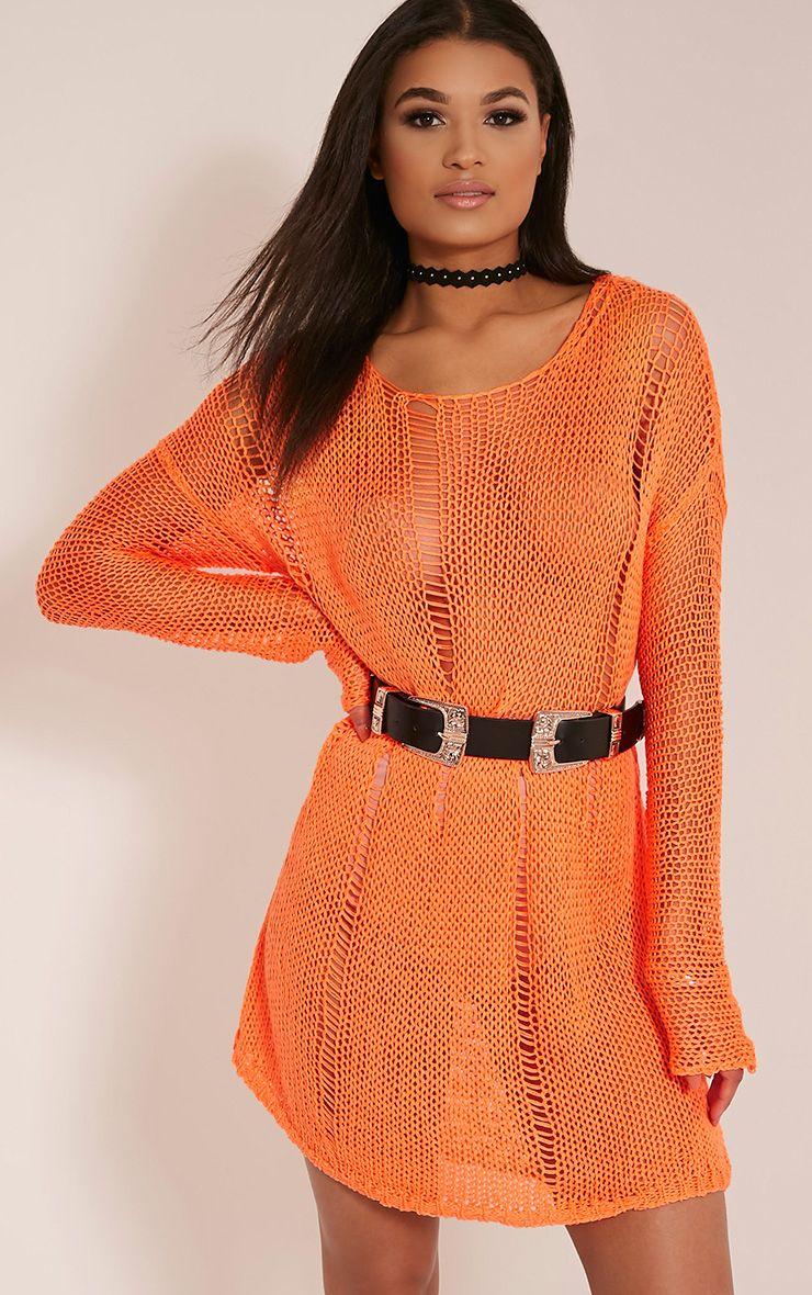 Prianca Bright Orange Oversized Knit Jumper Dress