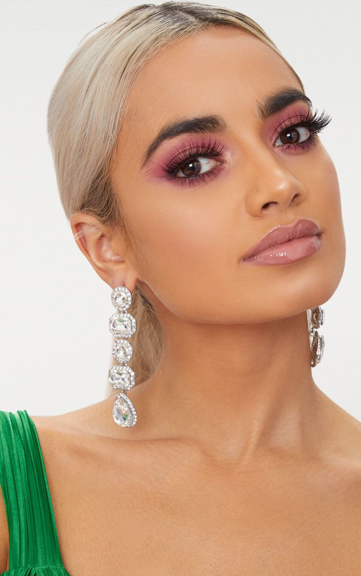 Silver Chunky Diamante Line Drop Earrings