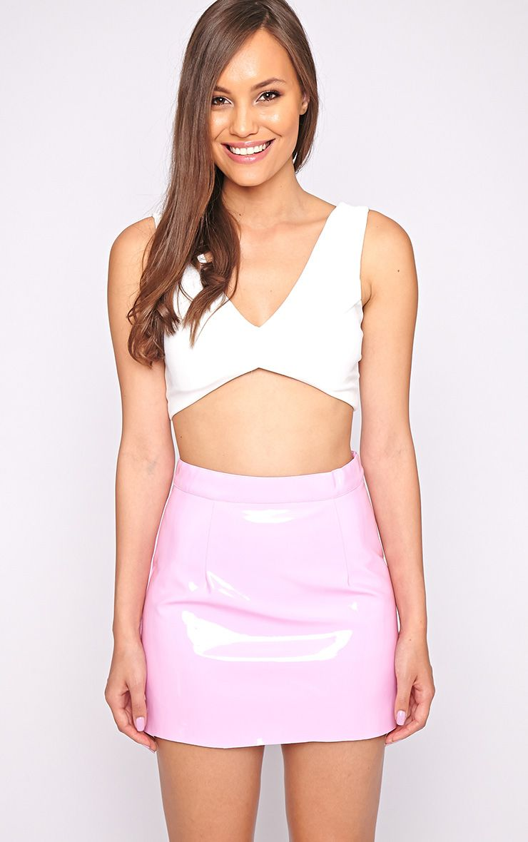 Daphne Pink PVC Mini Skirt  1