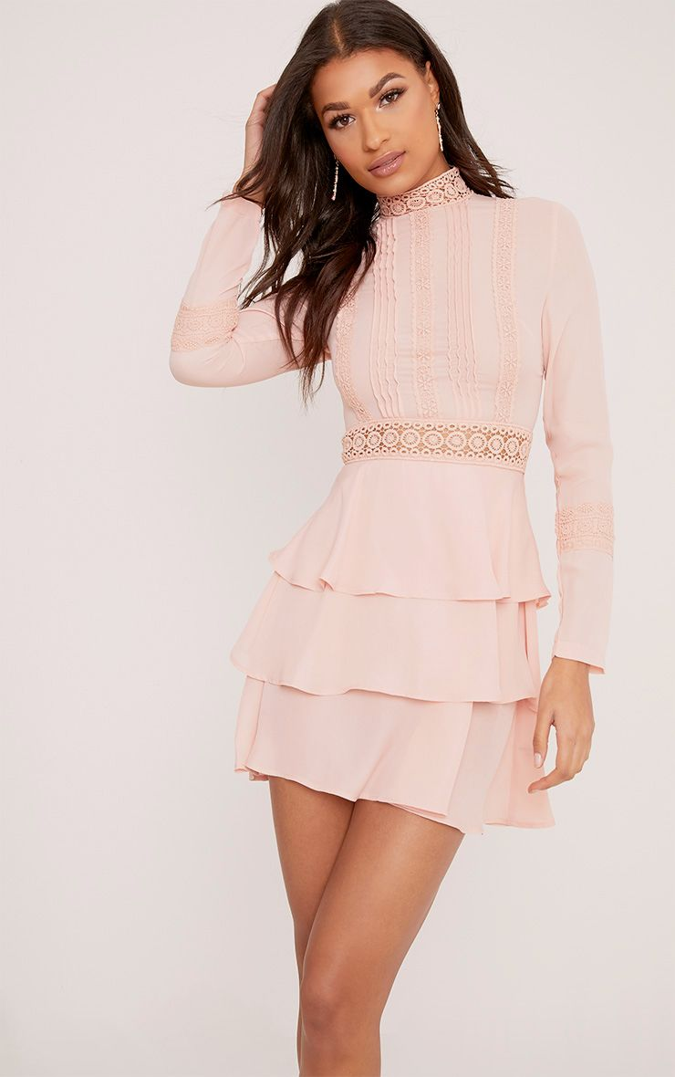 Hope Dusty Pink Crochet Lace High Neck Ruffle Swing Dress
