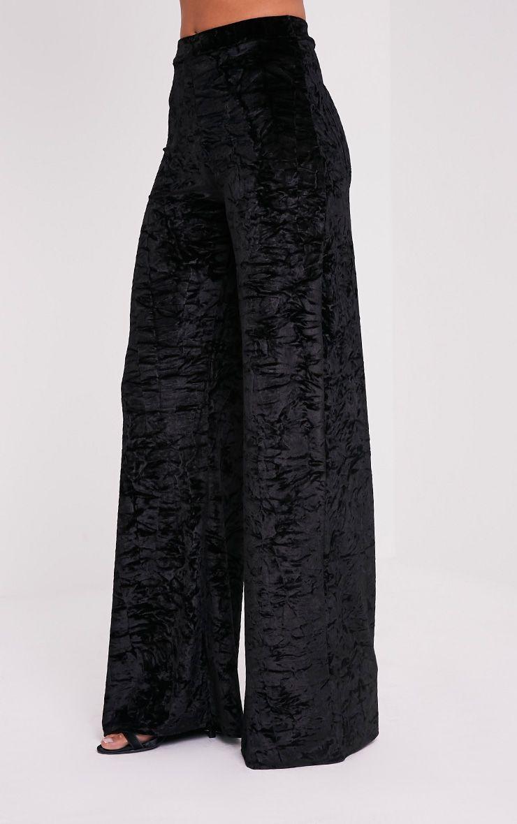 Jill Black Crushed Velvet Palazzo Trousers 4