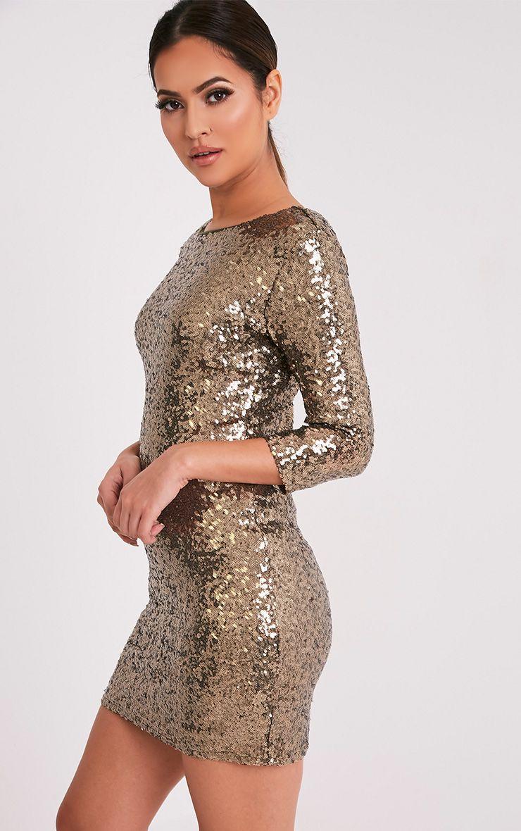 Eida Khaki Sequin Bodycon Dress